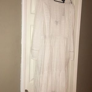 Jcrew white eyelet dress with sleeves